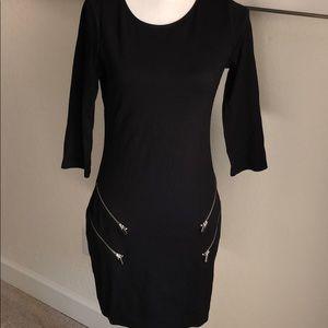 Express Zipper 3/4 Sleeve Sweater Dress
